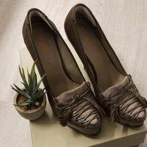 Leather Oxford Platform Heels sz 9M